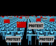 Stock Illustration of Crowd of people with protest signs and Chinese flags illustration