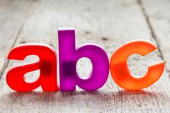 ABC spelling from plastic letters Stock Photos