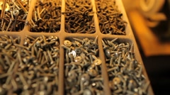 Close up on screws Stock Footage