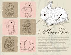 Vintage poster about Easter. - stock illustration