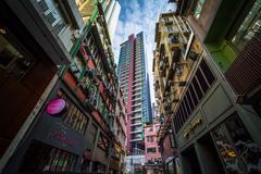 Buildings on Gough Street, in Hong Kong, Hong Kong. Stock Photos
