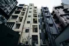 Apartment buildings in SoHo, in Hong Kong, Hong Kong. Stock Photos
