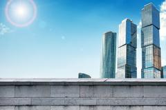 Skyscrapers with grey wall Stock Illustration