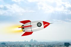 Space rocket flying above city Stock Illustration