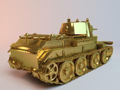 Golden imaginary 3d tank - stock illustration