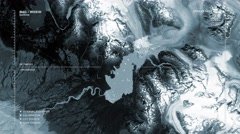Sequence (monochromatic) of aerial surveillance flyovers of polar locations Stock Footage