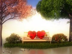 3D Valentin  view for love and romance Stock Illustration