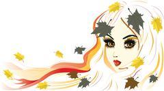 Autumn Girl with White Hair Stock Illustration