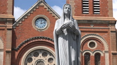 Vietnam religion, Virgin Mary statue, Notre Dame Cathedral Ho Chi Minh City Stock Footage