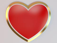 3d stylized red hearts Stock Illustration