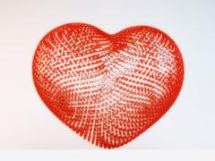 3D illuminated neon heart of glowing particles and wireframe. Stock Illustration