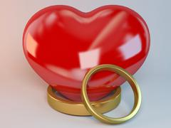 two rings and a heart 3d - stock illustration
