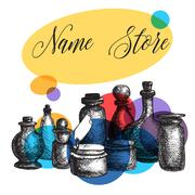 Vintage jars and bottles Stock Illustration