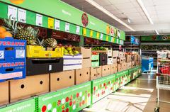 Fresh fruits and vegetables ready for sale in the supermarket Pyaterochka - stock photo