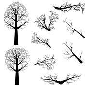 Bare trees silhouette - stock illustration