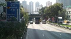 Road traffic landscape Shenzhen Bay to Hong Kong Tuen Mun Stock Footage