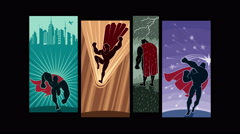 Looping animation with comic book superhero pictures. - stock footage