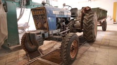 Old blue tractor ford, slider shot Stock Footage