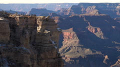 Grand Canyon North rim look out with tourist. Peoples top of precipice - stock footage