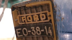 old blue tractor ford, slider shot, close shot - stock footage