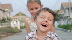 Happy children playing in park at the day time. Stock Footage