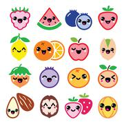 Kawaii fruit and nuts cute characters design - stock illustration