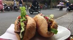 Banh mi sandwich Stock Footage