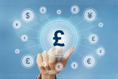 Business hand press british pound currency button Stock Photos