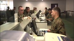 JAPAN, JANUARY 2016, US Soldiers Checkin Airport Terminal Stock Footage