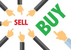 Sell or buy  - contracyclical trend concept , buying selling Stock Illustration