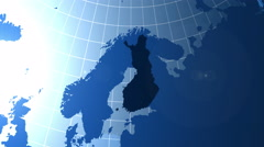 Finland. Zooming into Finland on the globe. Stock Footage