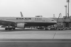 EVA Airways Corporation Plane In Airport Stock Photos