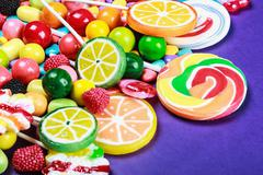 Colorful sweets and candies Stock Photos