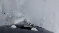 Bow of Icebreaker Ship breaks ice. Top view. - stock footage