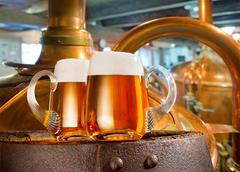 Two beer glasses in the brewery - stock photo
