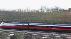 Freccia Rossa train on the railways Stock Footage