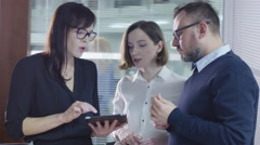 Group of employees are having a conversation in meeting room. Stock Footage