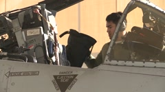 TUCSON USA, JANUARY 2016, Close Up US Air Force Pilot Exit A-10 Thunderbolt Stock Footage