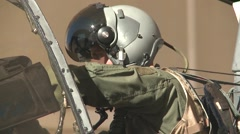 TUCSON USA, JANUARY 2016, Close Up Pilot A-10 Thunderbolt Sit In Cockpit Stock Footage