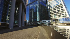 Skyscrapers of Moscow city business center closeup - stock footage