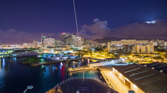 Cruise Ship Departing Honolulu Hawaii at Night Timelapse Stock Footage
