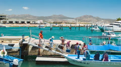 Cabo San Lucas Tourism Around Sightseeing and Fishing Boats Stock Footage