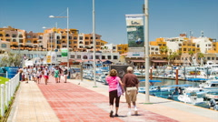 Cruise Ship Passengers Exploring Cabo San Lucas Marina Stock Footage