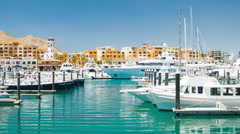 Luxury Yachts and Boats in Cabo San Lucas Mexico Marina Stock Footage