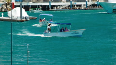Cabo San Lucas Boats Transporting Tourists in the Harbor Marina Stock Footage