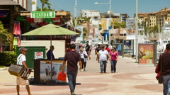 Cabo San Lucas Tourists Walking Along Marina Pier on a Hot Day Stock Footage