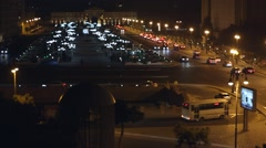 Traffic jam on a highway at night, out of focus. cars in hard traffic jam on win Stock Footage