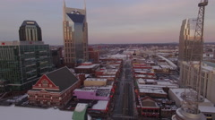 4k Aerial Snow Nashville Downtown 009 Part 2 Dusk Fly Over Broadway Stock Footage