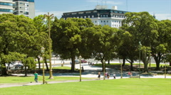 Buenos Aires Argentina People Walking Plaza de Mayo Around Wide Shot Stock Footage