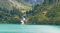 Waterfall on the Shores of Tracy Arm Fjord Alaska Stock Footage